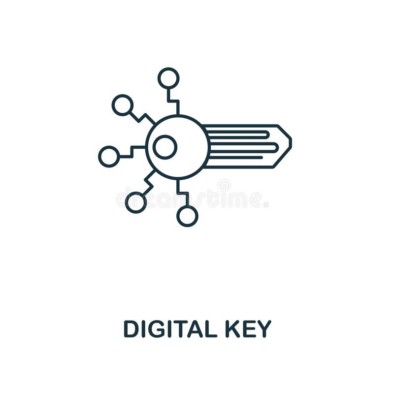 Digital nyckel- översiktssymbol Monokrom stildesign från crypto valutasymbolssamling Ui Perfekt enkelt för PIXEL stock illustrationer