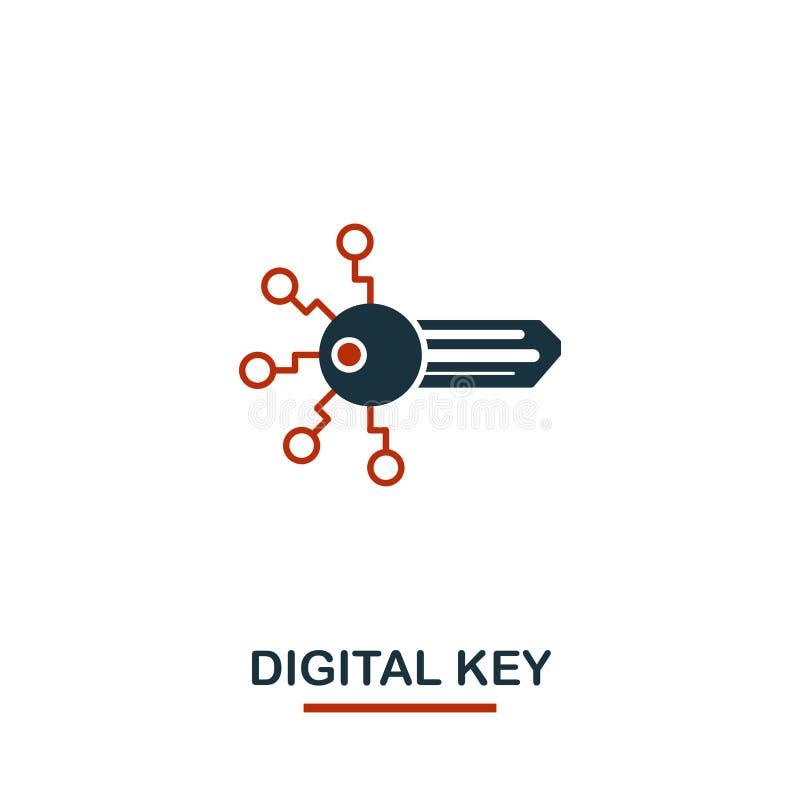 digital nyckel- symbol Idérika två färger planlägger från crypto valutasymbolssamling Digital nyckel- symbol för enkel pictogram stock illustrationer