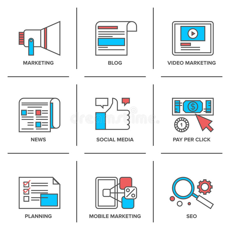 Digital och det sociala massmedia som marknadsför linjen symboler, ställde in royaltyfri illustrationer