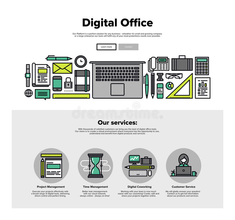Digital office flat line web graphics vector illustration