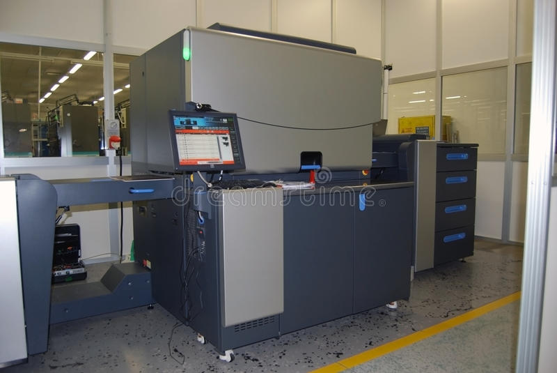 Digital offset printing - Four color press stock image