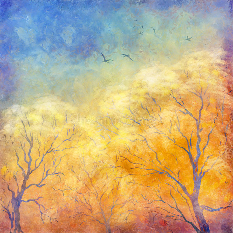 Digital oil painting autumn trees, flying birds. Digital art autumn landscape as oil painting. Grunge picture showing trees, brush strokes dramatic sky, flying stock illustration