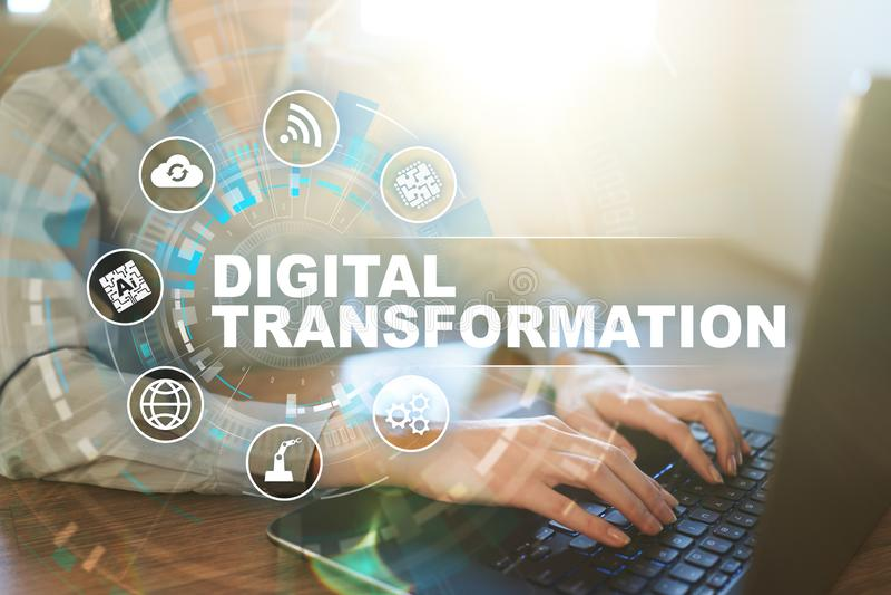 Digital omformning, begrepp av digitization av aff?rsprocessar och modern teknologi royaltyfri illustrationer