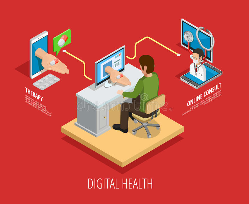 Digital Online Medical Care Isometric Template vector illustration