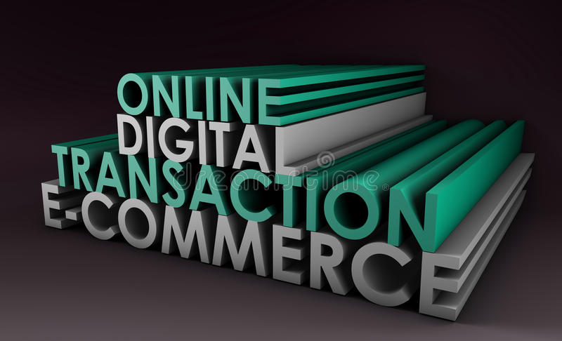 digital online-transaktion stock illustrationer