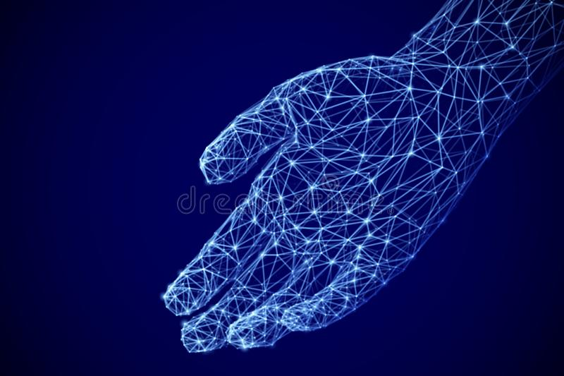 Digital open palm offering something. Assistance or inviting gesture. royalty free stock photo