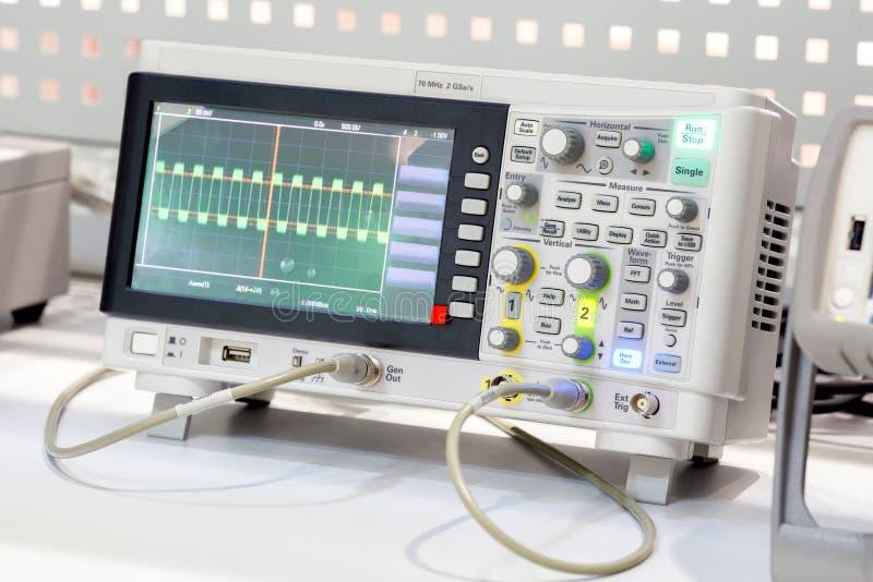 The digital oscilloscope. Close-up Photos royalty free stock photos