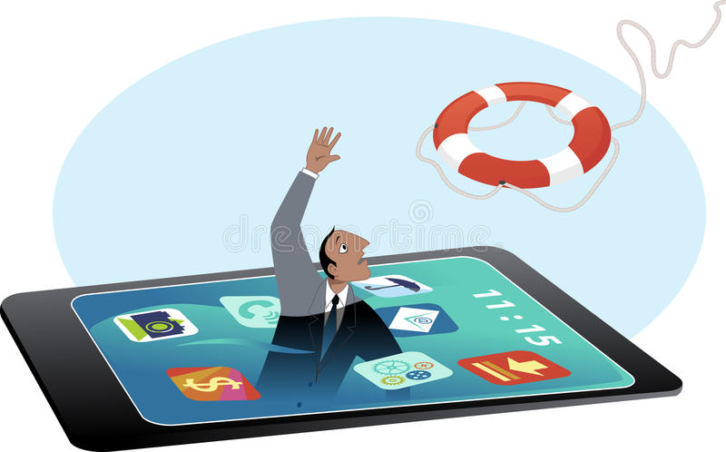 Digital overload. Man drowning in a smartphone screen, reaching for a lifebuoy, EPS 8 vector illustration, no transparencies, no mesh royalty free illustration