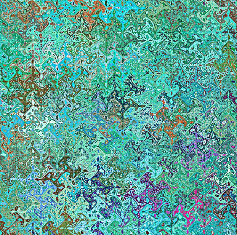 Digital Painting Abstract Multi-Color Chaotic Wavy Shapes in Aqua Green Color Background stock illustration