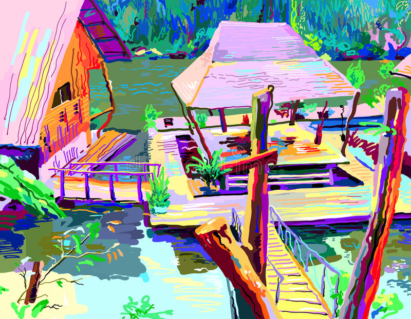 Digital painting of asia landscape river in Thailand. Contemporary art vector illustration royalty free illustration