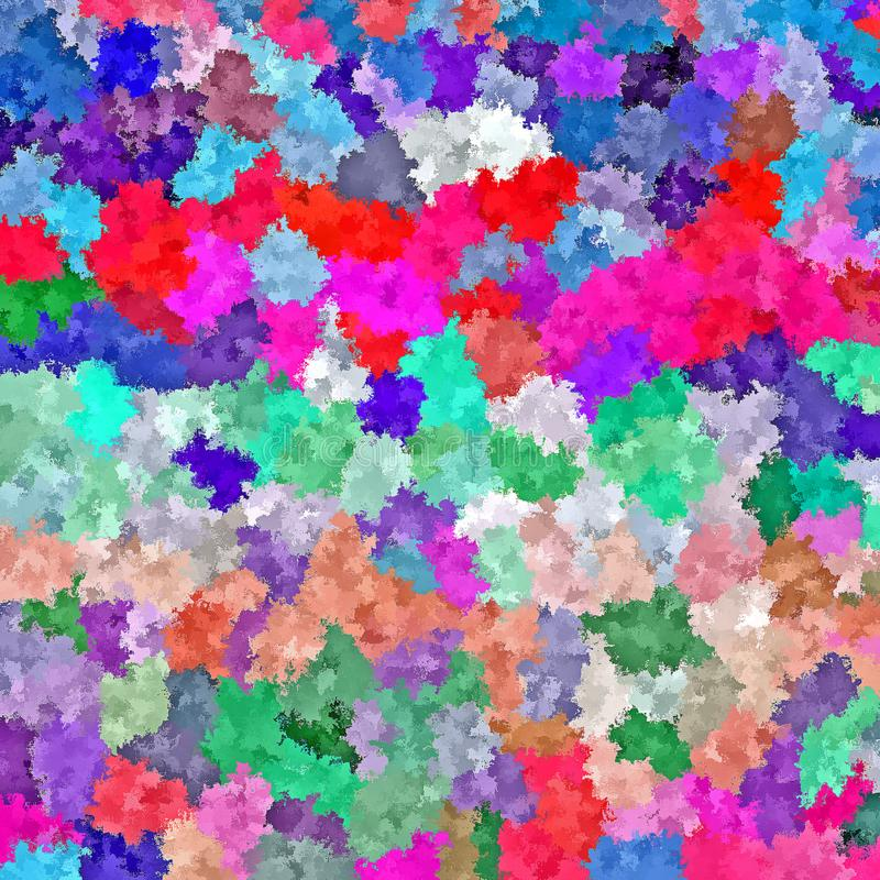 Digital Painting Abstract Chaotic Spatter Brush Paint in Colorful Cool Pastel Colors Background stock illustration