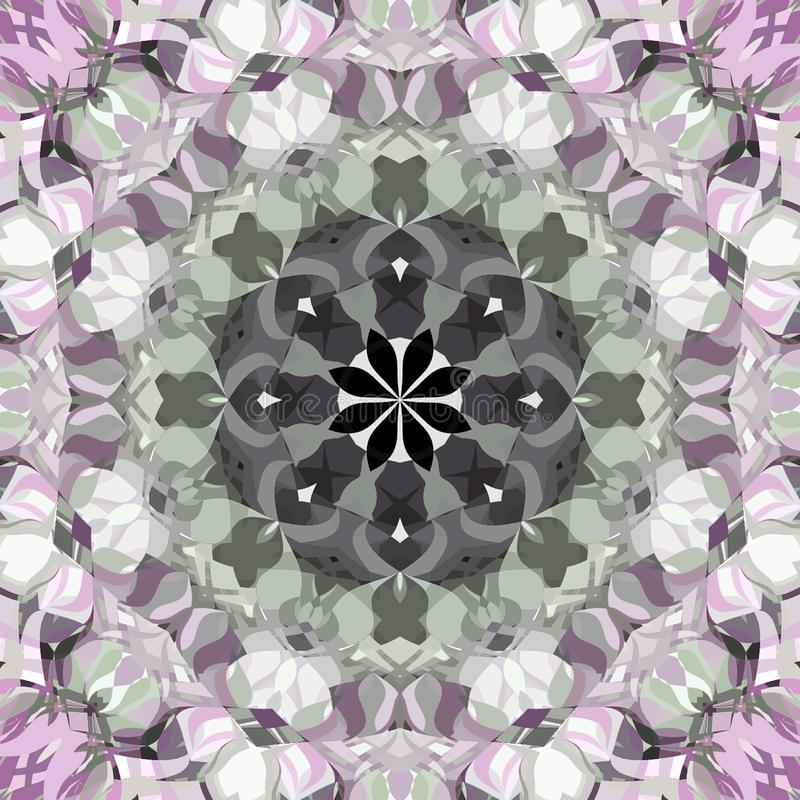 Digital Painting Abstract Colorful Floral Kaleidoscope Symmetrical Mandala Background royalty free illustration