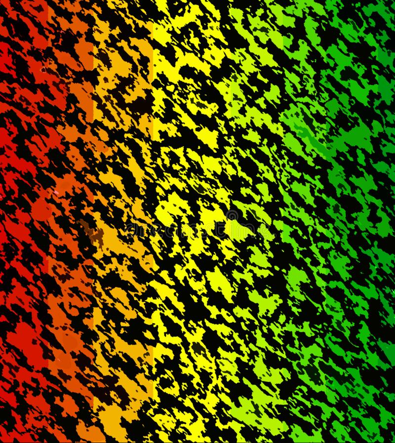 Digital Painting Abstract Multi-Color Dark Chaotic Stripes on Different Shades of Reggae Colors Background stock illustration