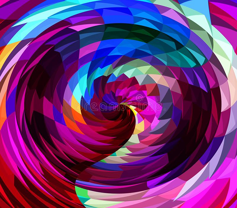 Digital Painting Abstract Chaotic Wavy Twirl in Colorful Bright Pastel Colors Background stock illustration