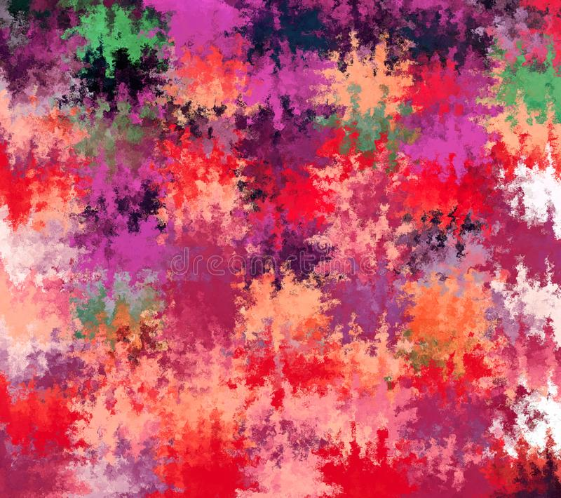 Digital Painting Multi-Color Abstract Spatter Paint in Purple, Red, Beige and Green with Dark Smudge Colors Background. Digital Painting Beautiful Multi-Color stock illustration