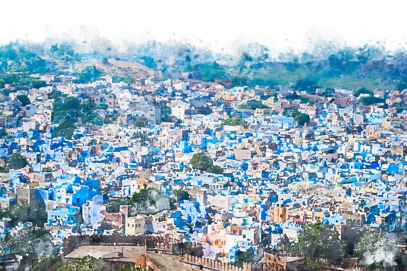 Digital painting of blue city, illustration of historic building for background. Jodhpur City in Rajasthan, India. Watercolor texture on image stock illustration