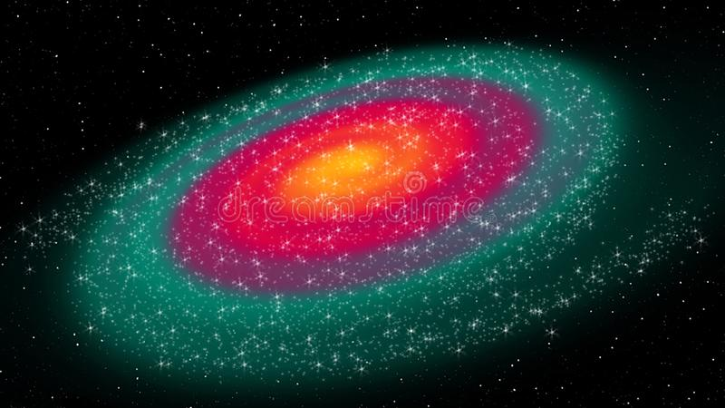 Digital Painting Abstract Galaxy Background - Multi-Color Spiral Galaxy in Deep Space royalty free illustration