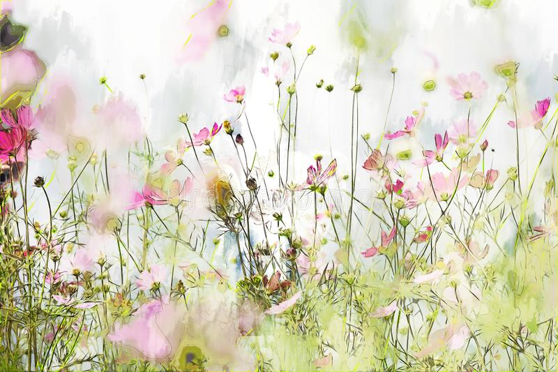 Digital painting of cosmos flower on cool tone background. Watercolor texture on image stock photo