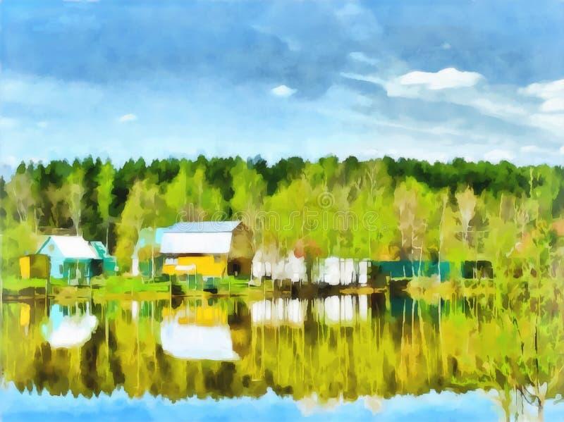 Digital painting. Drawing watercolor. Rural landscape stock illustration