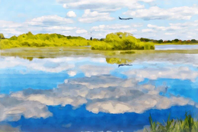 Digital painting. Drawing watercolor. Rural landscape vector illustration