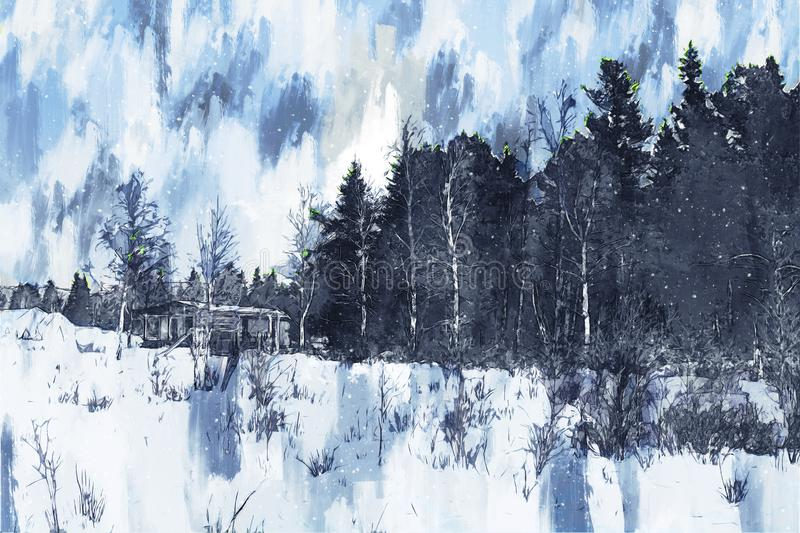 Digital painting of forest with snow on ground, small house in forest, blue tone illustration stock illustration