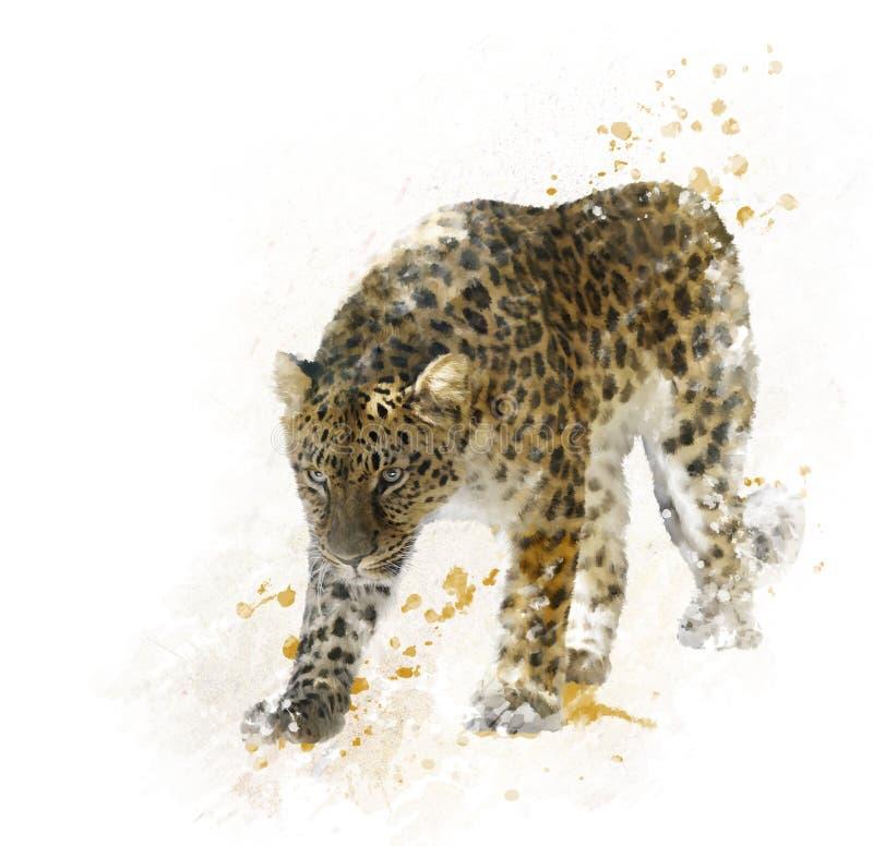 Digital Painting of Leopard. Digital Painting of Walking Leopard royalty free illustration