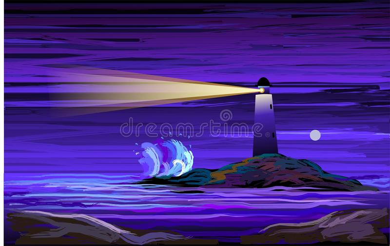 Digital painting of a lighthouse royalty free illustration