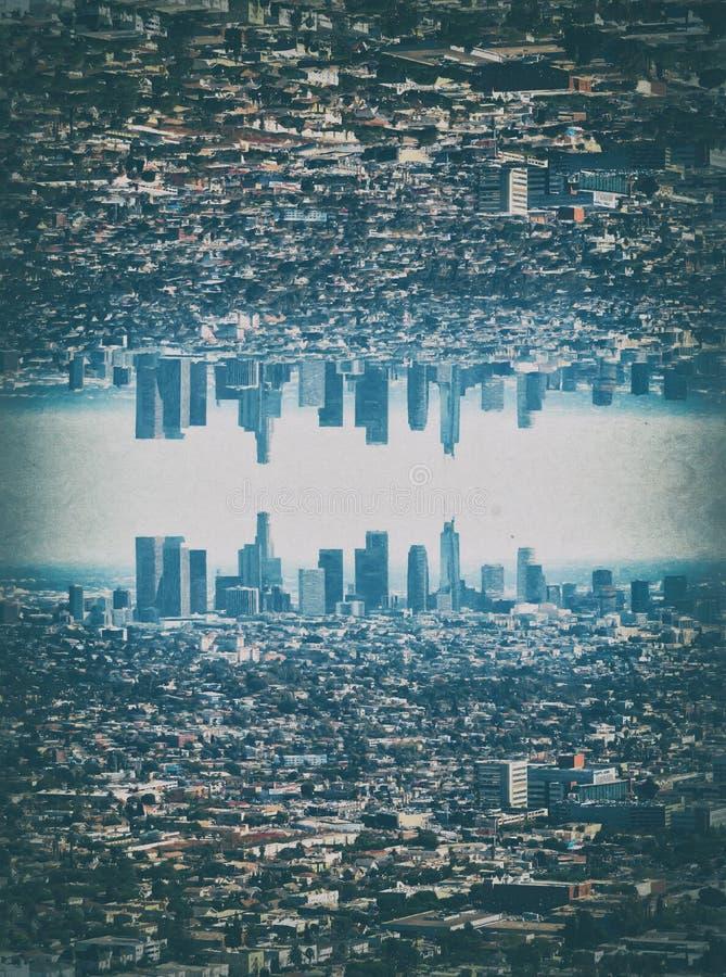 Digital Painting - Los Angeles Skyline. Digital Painting of a mirrored Los Angeles Skyline royalty free stock photos