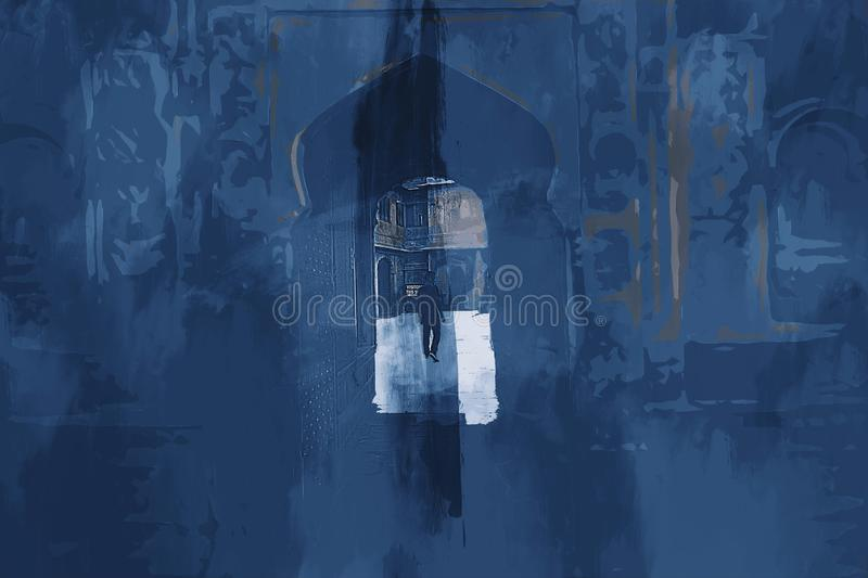 Digital painting of old building with gate and man in blue tone. Acrylic texture on image stock photography