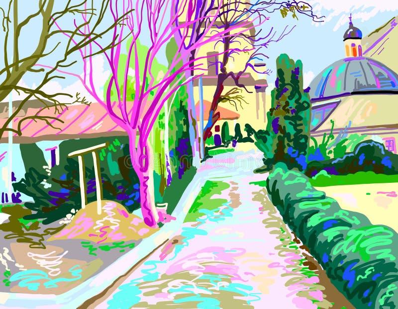 Digital painting of rural landscape, contemporary art vector ill. Ustration, contemporary art vector illustration royalty free illustration