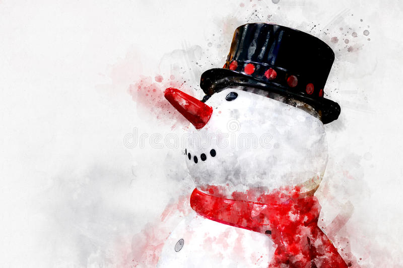 Digital painting of smiley snowman, watercolor style.  stock illustration