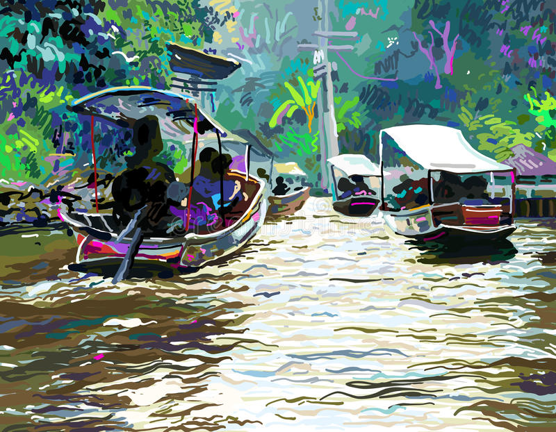 Digital painting of Thailand river, plein air contemporary art. Vector illustration royalty free illustration