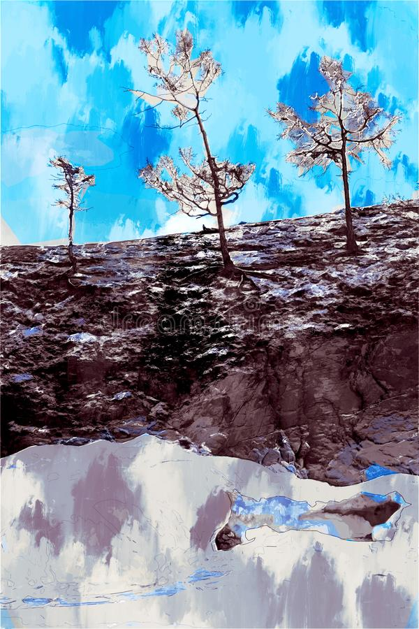 Digital painting of trees in winter on cliff, landscape image, landscape photography vector illustration