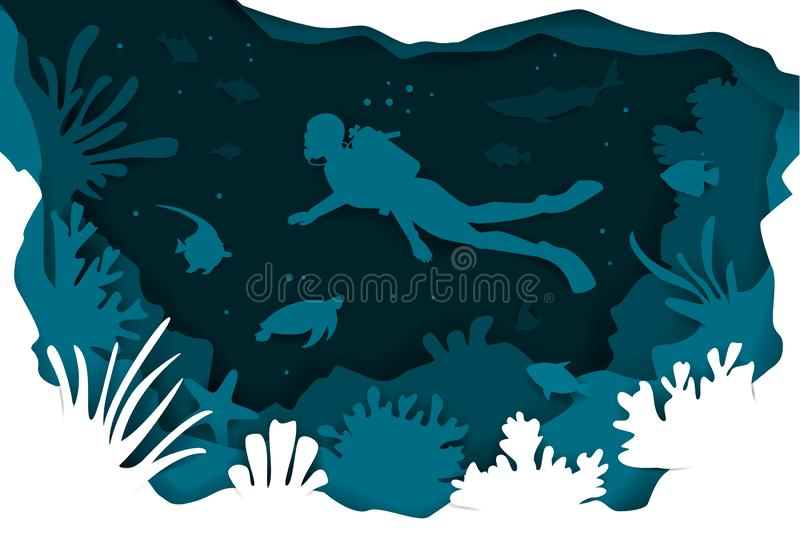 Digital paper cut style underwater deep sea background with scuba diver fishes and coral reefs. Vector illustration texture stock illustration