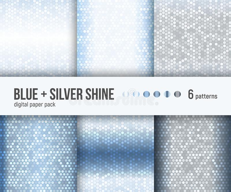 Digital paper pack, 6 abstract blue and white shiny silver patterns stock illustration