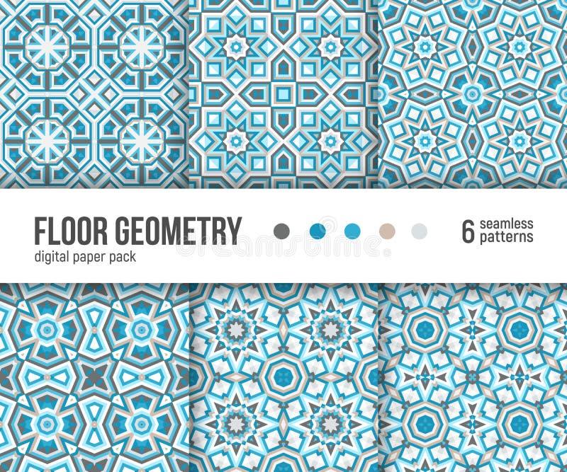 Digital paper pack, 6 abstract patterns. Portuguese floor tiles design. royalty free illustration