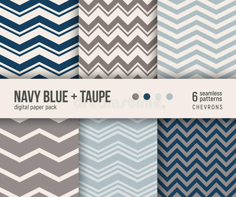 Digital paper pack, 6 classic chevron patterns in navy blue and taupe vector illustration