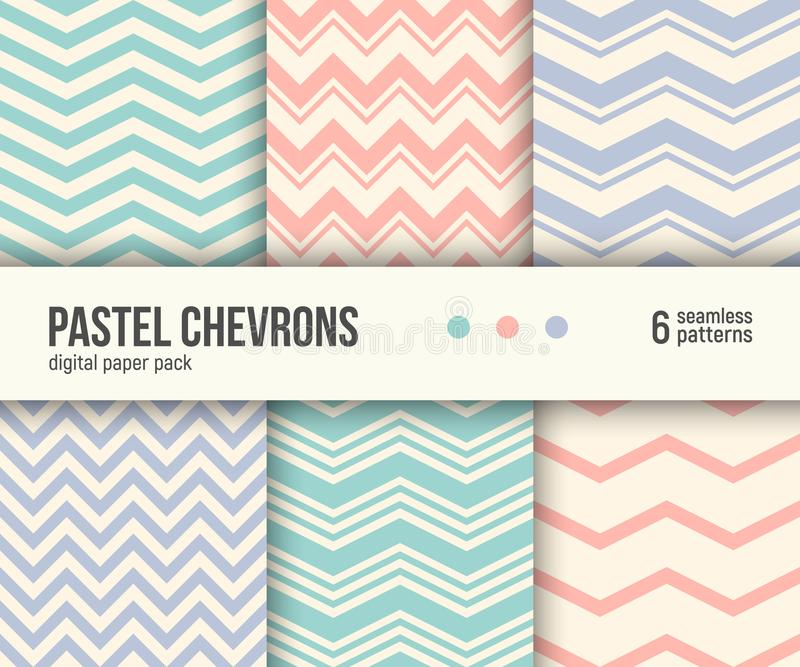Digital paper pack, 6 pastel chevron patterns, minimal geometric striped background vector illustration
