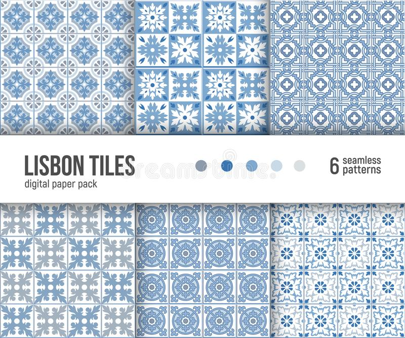 Digital paper pack, 6 Portuguese floor tiles patterns, blue and white delft tiles stock illustration