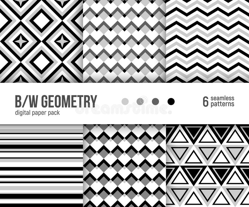 Digital paper pack, 6 abstract black and white geometric patterns vector illustration