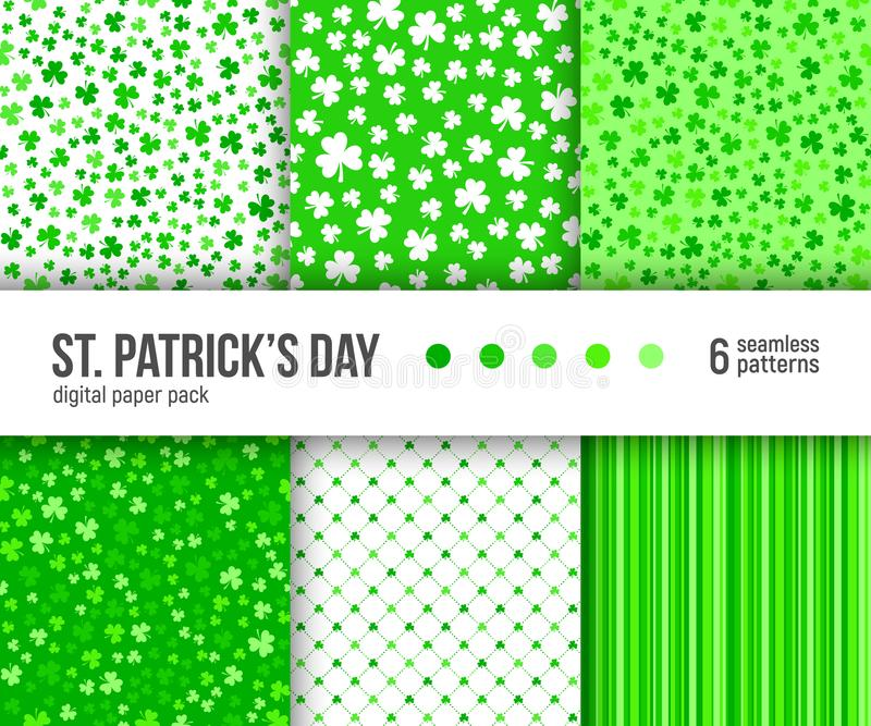 Digital paper pack, 6 abstract patterns, Green clover patterns, St. Patrick Day background. stock illustration