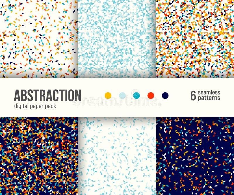 Digital-Papiersatz, 6 abstrakte Muster Abstrakte geometrische Hintergründe stock abbildung