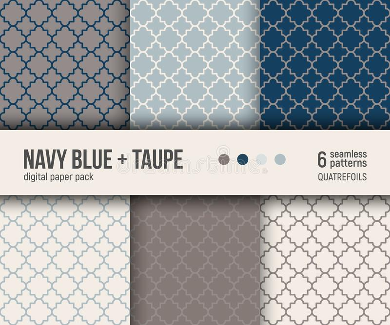 Digital-Papiersatz, 6 abstrakte Muster Traditionelles quatrefoil Muster lizenzfreie abbildung
