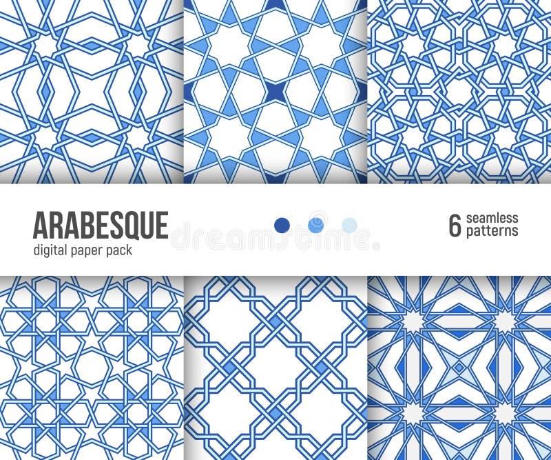 Digital-Papiersatz, 6 Arabeskenbodenfliesemuster, niederländisches Delfter Blau und Weiß lizenzfreie abbildung