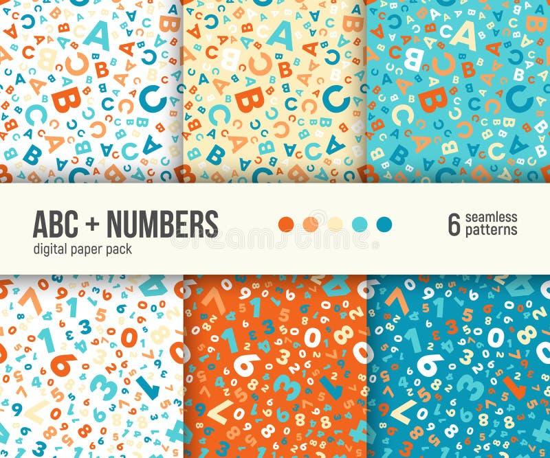 Digital papieru paczka, 6 abstrakcjonistyczni wzorów, ABC i matematyk tła dla dzieciak edukaci, ilustracja wektor