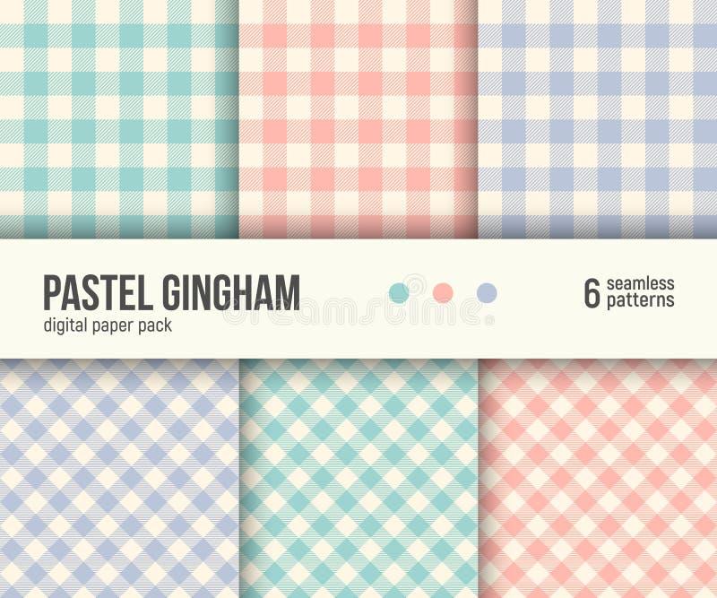 Digital papieru paczka, 6 tradycyjnych Gingham wzorów, pastelowi kolory royalty ilustracja