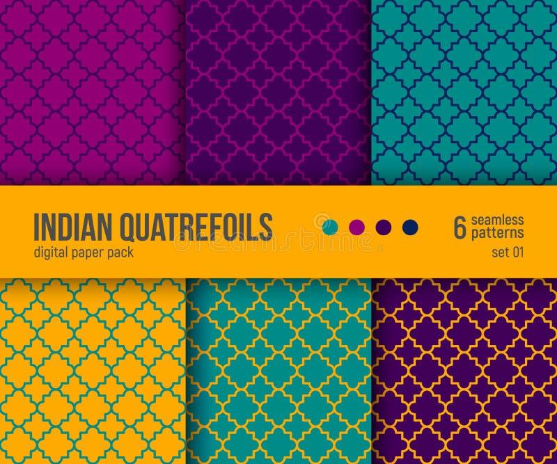 Digital papieru paczka, 6 tradycyjnych Quatrefoil wzorów w jaskrawych kolorach - gorący kolor żółty, purpura, cyraneczka ilustracja wektor