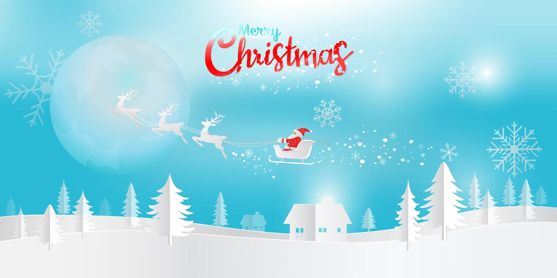Digital pappers- konst, glad jul och lyckligt nytt år med jultomten royaltyfri illustrationer
