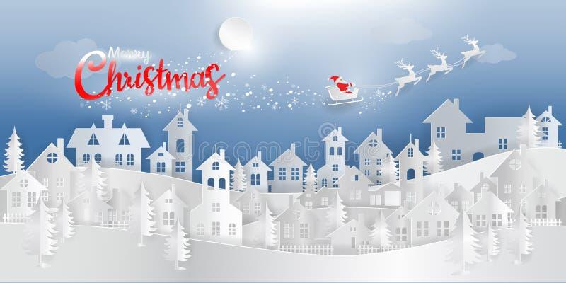 Digital pappers- konst, glad jul och lyckligt nytt år, Santa Cla stock illustrationer