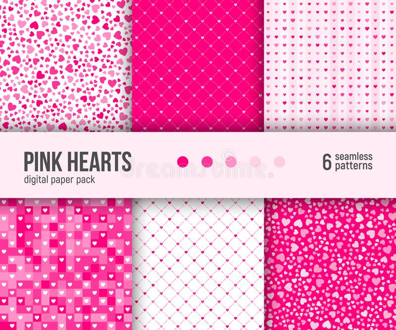 Digital pappers- packe, 6 abstrakta hjärtamodeller, Valentine Day bakgrund stock illustrationer